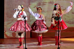 Children artists in national dress. Speech by the art group Soniah on the stage of the Kyiv Palace of children and youth. Yuileyny concert dedicated to the Royalty Free Stock Photo