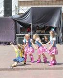 Children artists. Performance of children's dancing group Royal Ballet on the street scene. Festival street food. June 2015. Kiev royalty free stock photos