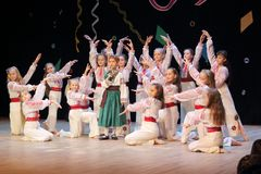 Children artists. Children`s folk Ukrainian music and dance group on stage Royalty Free Stock Photography