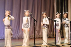 Children artists vocalists. Performance vocal choreographic art group sleepyheads on the stage of the Kyiv Palace of children and youth. The festival Steps Stock Photos