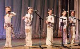 Children artists vocalists. Performance vocal choreographic art group sleepyheads on the stage of the Kyiv Palace of children and youth. The festival Steps Royalty Free Stock Photos