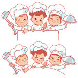 Children as little chefs. Banner. Royalty Free Stock Photo