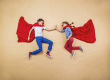 Children as superheroes royalty free stock photos