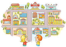 Children asking and telling the way to different city buildings. Colorful cartoon Royalty Free Stock Image
