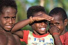 Children asmat a tribe. stock images