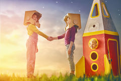 Children in astronauts costumes Royalty Free Stock Photos