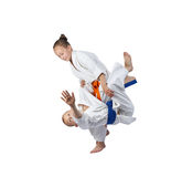 Children athletes train judo throws Royalty Free Stock Photos