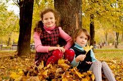 Children in the autumn. Happy children in the autumn Stock Image