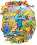 Children in the autumn stock illustration