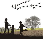 Children in the autumn country, vector illustratio. Vector illustration children and country trip in autumn Royalty Free Stock Image