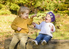 Children in Autumn Forest Royalty Free Stock Photography