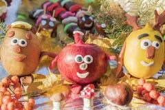 Children autumn fruit crafts stock images