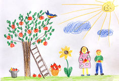 Children in a autumn garden - children drawing Stock Images