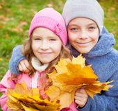 Kids at autumn Royalty Free Stock Photography