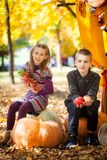 Children in the autumn park. Children sitting on a big pumpkin in the autumn park Royalty Free Stock Images