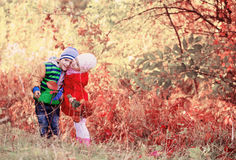 children in autumn park Stock Image