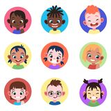 Children avatar. Faces childhood cute kids boys girls avatars head child profile portrait character web user
