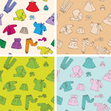 Children and baby clothes 4 seamless textures Royalty Free Stock Photo