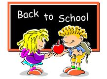 Children back to school. Conceptual image promoting the return to classes of school to start the season. Boy and girl with apple front the blackboard Royalty Free Illustration