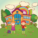 Children back to school. Two children on the background of school return to school after the holidays royalty free illustration