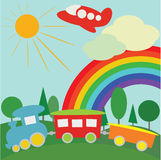 Children background. With train, plane and rainbow Royalty Free Stock Image