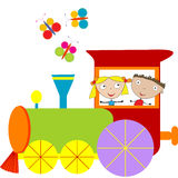 Children background with steam engine Royalty Free Stock Photography