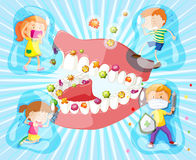 Children and bacteria in their mouth Stock Photography