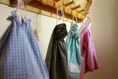 Children bags hanging in kindergarten Royalty Free Stock Photo