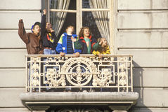 Children in balcony at Macy's Parade Royalty Free Stock Images