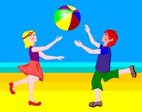 Children with the ball. Boy and girl playing with a ball vector illustration