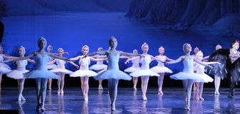 Children ballerina dancing ballet Swan Lake Royalty Free Stock Photo