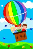 Children in Balloon. Illustration of playing children in a balloon Royalty Free Stock Photography