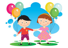 Children With A Balloon Royalty Free Stock Photo