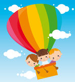 Children with balloon. Illustration of three kids flying balloon