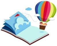 Children on balloon in blue book. Illustration Stock Photography