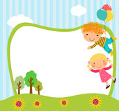 Children and balloon. Illustration of children and balloon Stock Photos