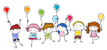 Children and balloon. Illustration of children and balloon Stock Photography