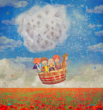 Children in a balloon  over the beautiful landscape with poppies. Against the sky with clouds , illustration art Royalty Free Stock Photos