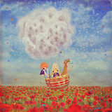 Children in a balloon  over the beautiful landscape with poppies. Against the sky with clouds , illustration art Royalty Free Stock Images