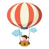 Children in a balloon vector. Illustration of children in a balloon vector Stock Photos