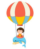 Children in a balloon vector Stock Images