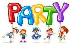 Children and balloon for word party. Illustration stock illustration