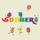 Children, balloon and word SUMMER.. Children, balloon and word SUMMER. Word and children. Drawing little children doodle with different poses on a light Stock Photography