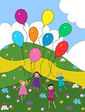 Children with balloons. Children play with balloons outdoors among the flowers Royalty Free Stock Photos