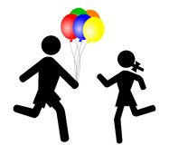 Children with balloons. Vector of a boy giving a girl a bunch of brightly coloured balloons Vector Illustration