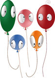 Children balloons with eyes Stock Images