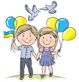 Children with balloons and flag Stock Photo