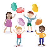 Children with Balloons. Happy Children. Boy with Balloon Royalty Free Stock Photography