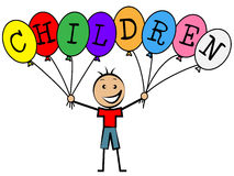 Children Balloons Indicates Toddlers Kids And Youngsters. Children Balloons Meaning Decoration Youths And Youngster Royalty Free Stock Image
