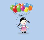 Children and balloons. Little girl and colourful balloons Royalty Free Stock Photography